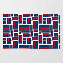 Modern Geometric in Red, White and Blue Rug