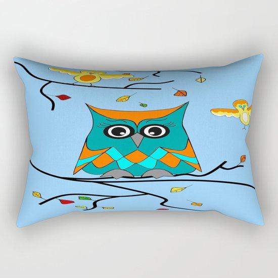 Owl And Birds Rectangular Pillow