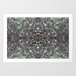 Sparkly colourful silver mosaic mandala Art Print
