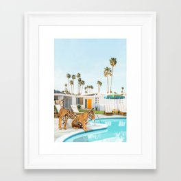 Tigers at the Pool Framed Art Print