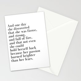 And one day she discovered that she was fierce Stationery Cards