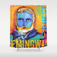 hemingway Shower Curtains featuring HEMINGWAY by sandra de bedout