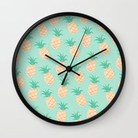 pineapple Wall Clocks featuring Pineapple   by Sibylline