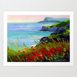 Sea ,rocks,flowers Art Print
