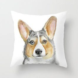 Cardigan Welsh Corgi Series Blue Merle Throw Pillow