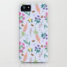 Violets Honeysuckle & Lavender Pattern iPhone Case