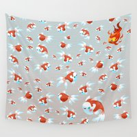 goldfish Wall Tapestries featuring Goldfish by UniverseSunny