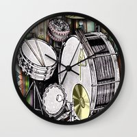 kit king Wall Clocks featuring Drum Kit by JustinPotts