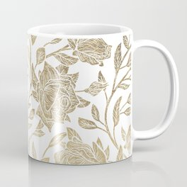 Elegant White Gold Luxury Roses Floral Coffee Mug