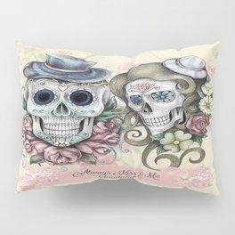 Skull Couple Always Kiss Me Goodnight Pillow Sham