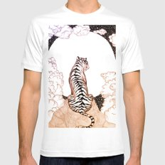 Tiger Moon Glow LARGE White Mens Fitted Tee
