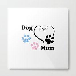Dog Mom. Pink and blue paw print with hearts. Happy Mother's Day background Metal Print