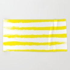 Sunny Yellow STRIPES Handpainted Brushstrokes Beach Towel