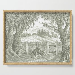 ONCE UPON A EUCALYPTUS VINTAGE PEN DRAWING Serving Tray