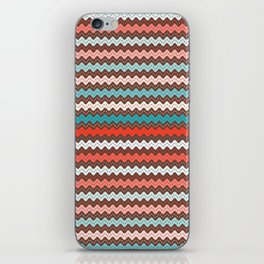 Christmas ric rac pattern. Waves in pink and aqua. iPhone Skin