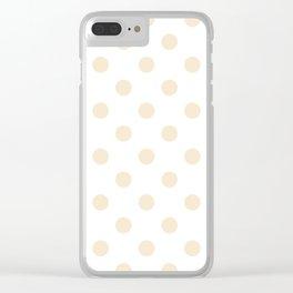 Polka Dots - Champagne Orange on White Clear iPhone Case