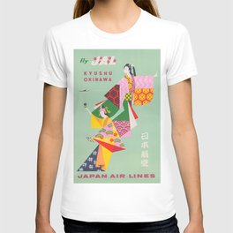 Japan Vintage Travel Poster, Colorful Kimonos T-shirt