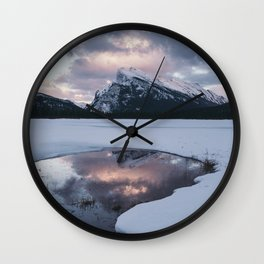 Sunset over Mt Rundle Wall Clock
