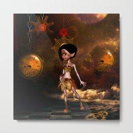 Steampunk, cute little steampunk girl Metal Print