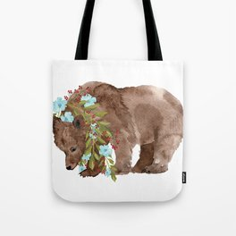Bear with flower boa Tote Bag