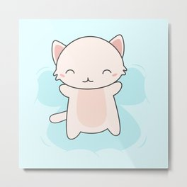 Kawaii Cute Snow Angel Cat Metal Print