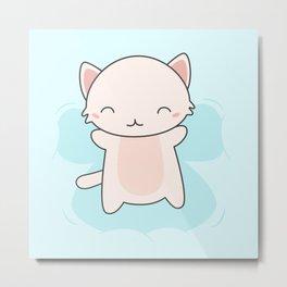 Kawaii Cute Snow Angel Cat Metal Print