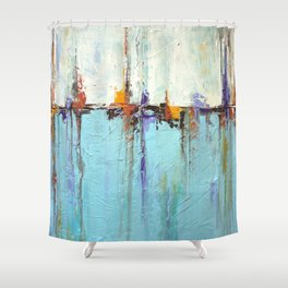 "Abstract White and Blue Painting – Textured Art – ""Sailing""  Shower Curtain"