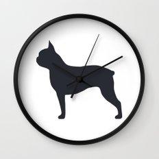 boston terrier silhouette Wall Clock