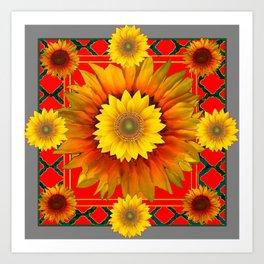RED-GREY DECO YELLOW SUNFLOWERS MODERN ART Art Print