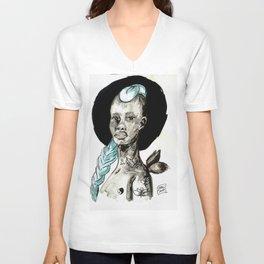 Femme à la crête bleue Unisex V-Neck
