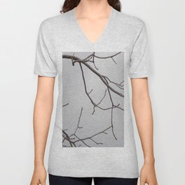 Cold Grey Sky Behind Leafless Tree Branches Unisex V-Neck