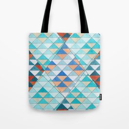 Triangle Pattern No.10 Shifting Turquoise and Orange Tote Bag