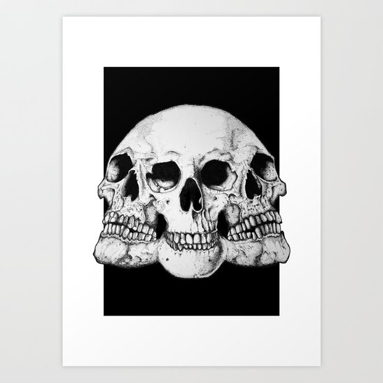 Threesome Skull - Black version Art Print