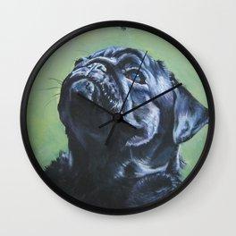 black PUG dog art portrait from an original painting by L.A.Shepard Wall Clock