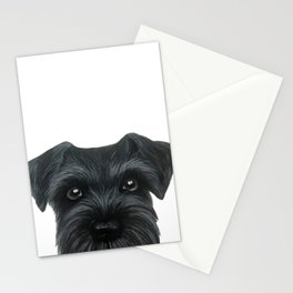 Black Schnauzer, Dog illustration original painting print Stationery Cards