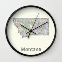 montana Wall Clocks featuring Montana map by David Zydd