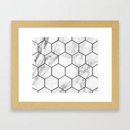 Marble hexagonal tiles - geometric beehive Framed Art Print