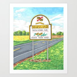 Welcome to Maryland Art Print