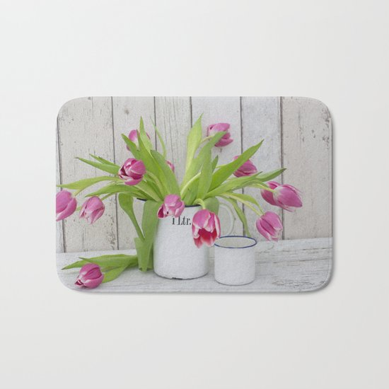 pink spring tulip still life country style Bath Mat