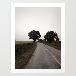 misty road in derbyshire Art Print