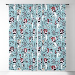 Molly Mermaid vintage pinup inspired nautical tattoo Blackout Curtain