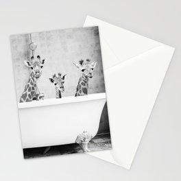 Four Giraffes in a Bath Stationery Cards