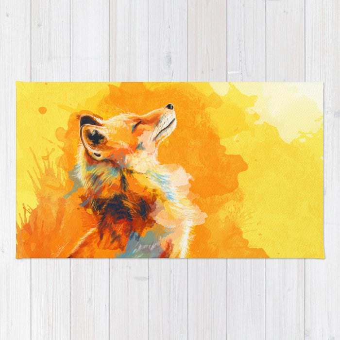 Blissful Light - Fox portrait Rug