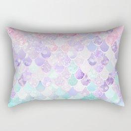 Cute Mermaid Pattern, Light Pink, Purple, Teal Rectangular Pillow
