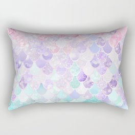 Cute Mermaid Pattern, Light Pink, Purple, Teal Rectangular Pillow