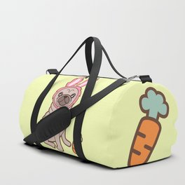 Pug dog in a rabbit costume Duffle Bag