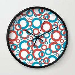 Blue Green, Red, White Geometric Ring Pattern 2021 Color of the Year AI Aqua 098-59-30 Wall Clock