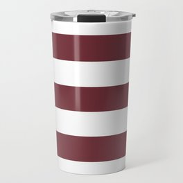 Puce red - solid color - white stripes pattern Travel Mug