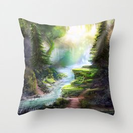 Magical Forest Stream Throw Pillow