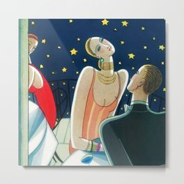 The Woman in Red & Stars, Art Deco - Haute Couture NYC Portrait Painting Metal Print